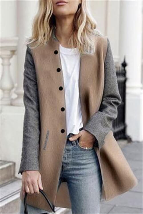 Two-Tone Button-Down Coat
