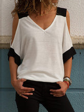 Load image into Gallery viewer, Black Contrast Cold Shoulder Tee