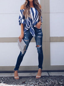 Off Shoulder Strip Blouse