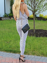 Load image into Gallery viewer, Black And White Stripes Deep V Jumpsuit