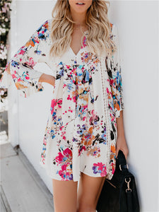 Floral Print V-Neck Bell Sleeve Dress