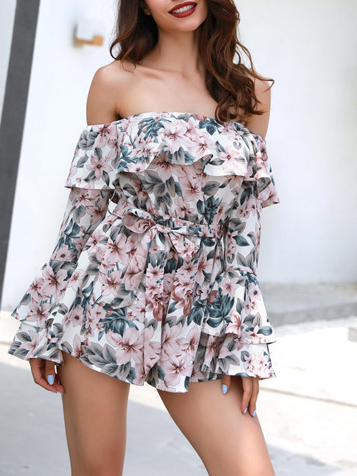 Word Collar Holiday Style Printing Romper