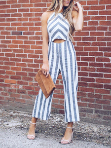 Halter Striped Jumpsuit