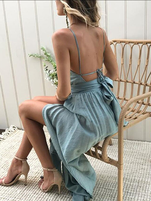 Backless Waist Slit Dress