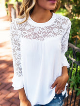 Load image into Gallery viewer, Casual Lace Stitching Chiffon Shirt