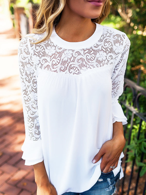 Casual Lace Stitching Chiffon Shirt