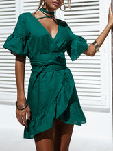 Load image into Gallery viewer, V-Neck Strap Ruffled Flared Sleeve Dress