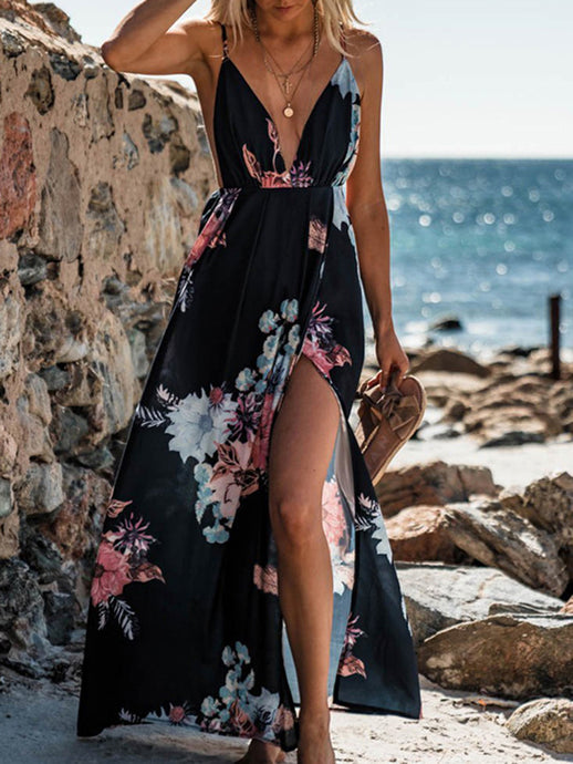 Beach Deep V Sling Chiffon Dress