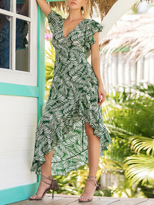 Printed V-Neck Irregular Dress