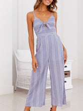 Load image into Gallery viewer, Bow Strap Striped Jumpsuit