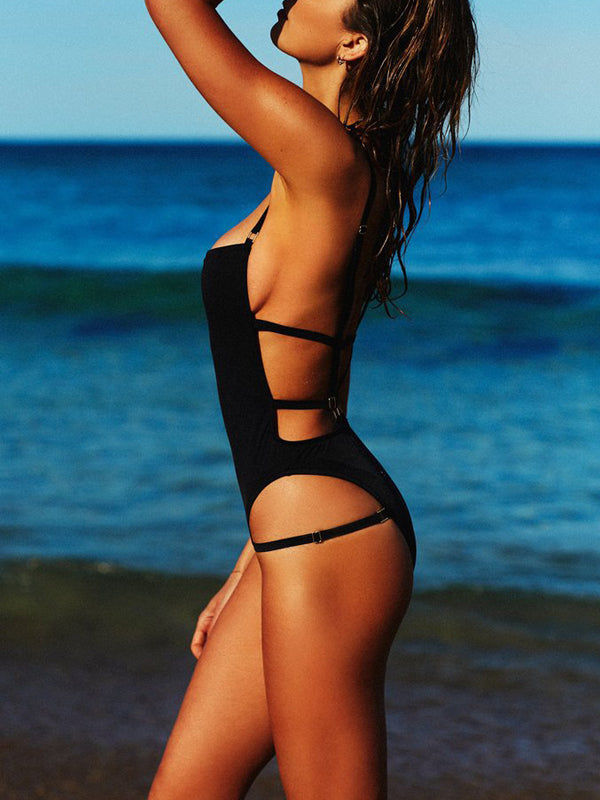 Black Strap One-Piece Swimsuit