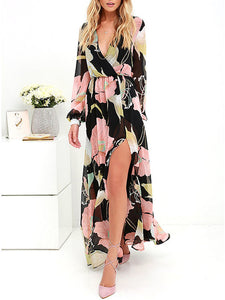 Long-Sleeved V-Neck Slit Print Maxi Dress