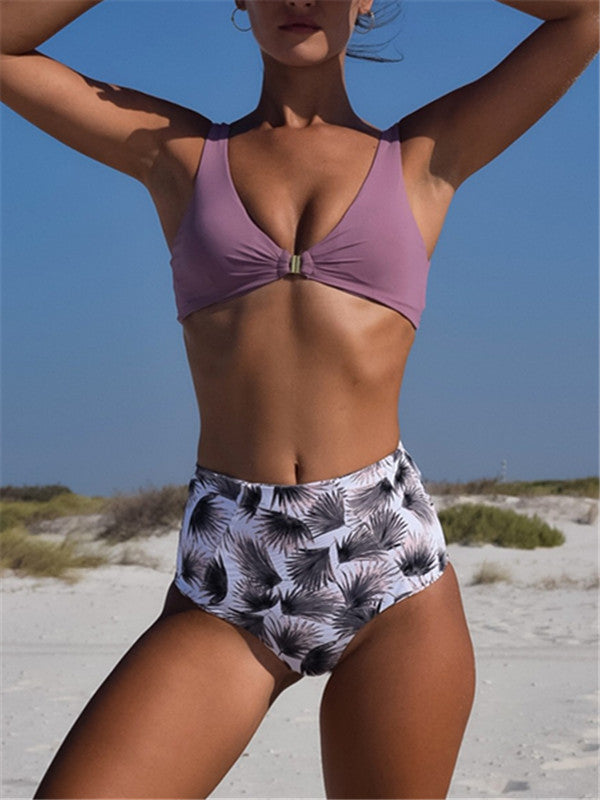 Knot Push Up High Waist Swimsuit