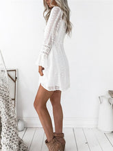 Load image into Gallery viewer, Plunge Wrap Lace-Trim Polka Dot Dress
