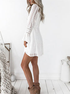 Plunge Wrap Lace-Trim Polka Dot Dress