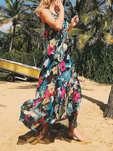 Load image into Gallery viewer, Lace-Print Sunscreen Beach Dress