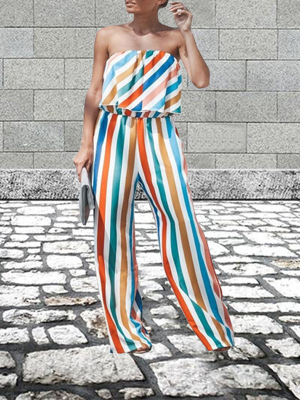 Casual Striped Strapless Jumpsuit