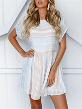 Load image into Gallery viewer, Scoop Neck Two-Tone Stripe Mini Dress
