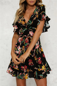 Floral V-Neck Ruffle Dress