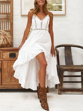 Load image into Gallery viewer, Spaghetti Hollow High Low Ruffle Maxi Dress