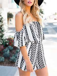 Casual Striped Off Shoulder Two Pieces