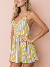 Load image into Gallery viewer, Striped V Neck Backless Strap Cross Rompers