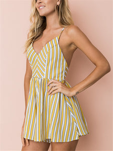 Striped V Neck Backless Strap Cross Rompers