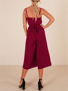 V Neck Sling Wide Leg Jumpsuit