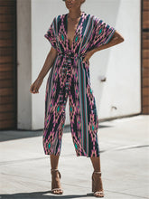 Load image into Gallery viewer, Striped Plunging Belted Jumpsuit