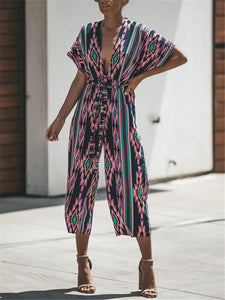 Striped Plunging Belted Jumpsuit