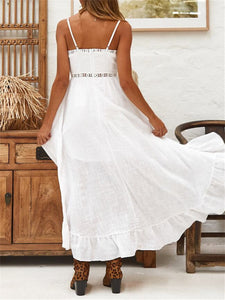 Spaghetti Hollow High Low Ruffle Maxi Dress