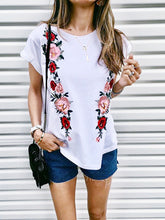 Load image into Gallery viewer, Rose Print Short Sleeve T-Shirt