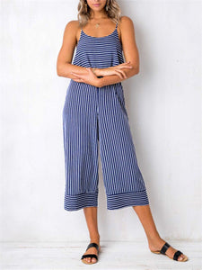 Striped Scoop Neck Wide Leg Jumpsuit