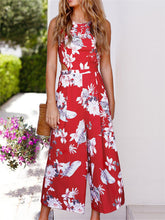 Load image into Gallery viewer, Floral Print Sleeveless Back Tied Jumpsuit