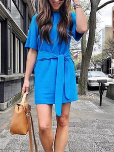 Crewneck Half Sleeve Mini Dress