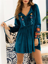 Load image into Gallery viewer, Embroidered Puff Sleeve Mini Dress