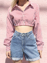 Load image into Gallery viewer, Mini-Stripe Crop Shirt