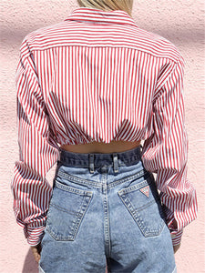Mini-Stripe Crop Shirt