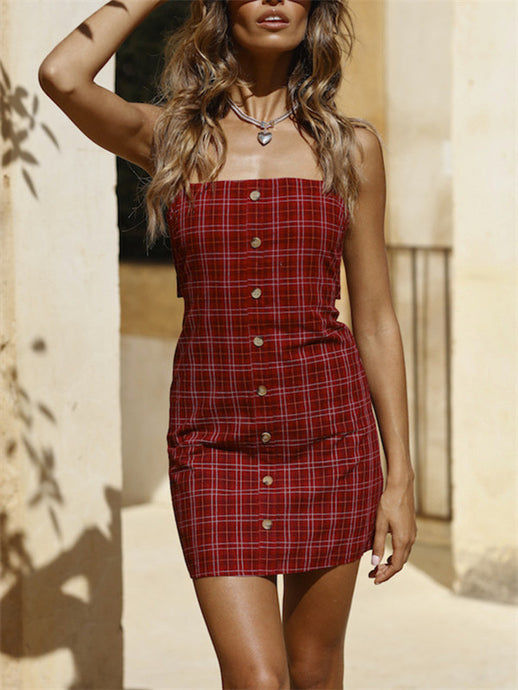 Plaid Strappy Button Down Knot-Back Dress