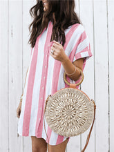 Load image into Gallery viewer, Casual Stripe Loose Mini Shirtdress