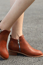 Load image into Gallery viewer, Zip PU Ankle Boots