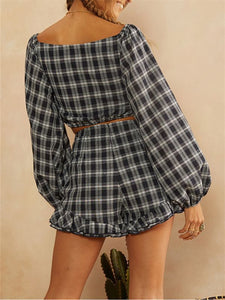 Plaid Crop Top & Shorts Co-ord