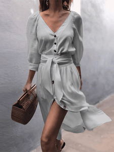Button-Down V Neck Dress with Belt