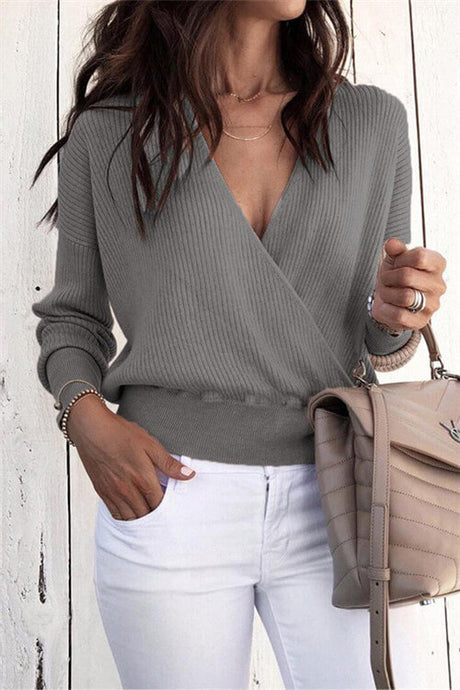Deep V Wrapped Sweater