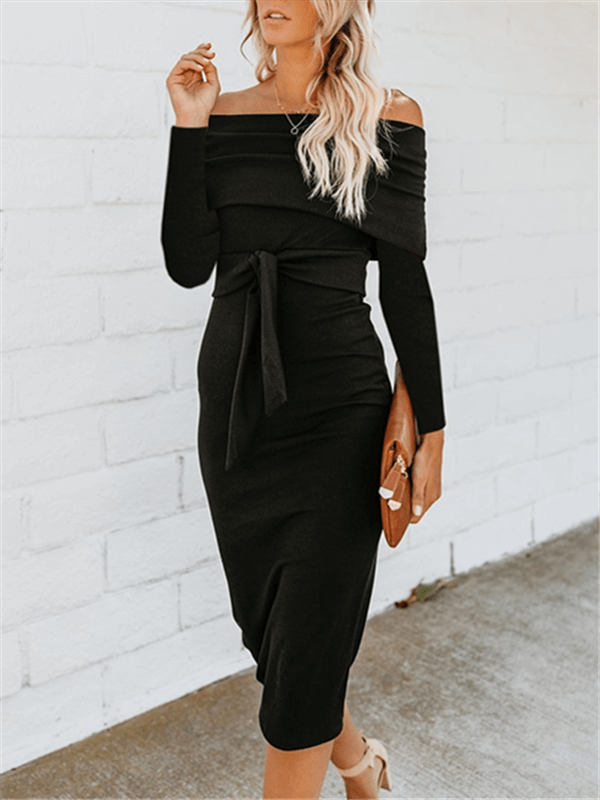 Off Shoulder Bodycon Dress with Belt-Clearance