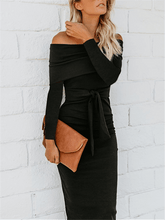 Load image into Gallery viewer, Off Shoulder Bodycon Dress with Belt-Clearance