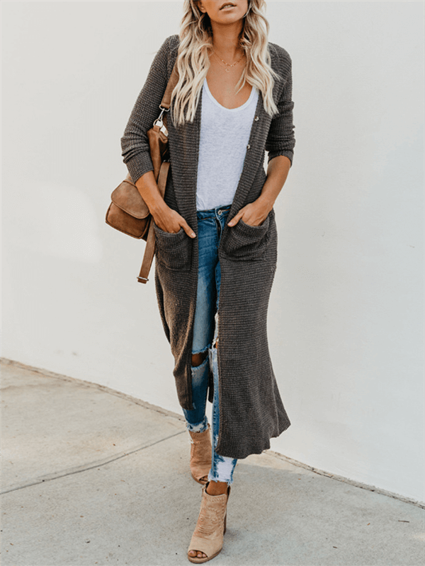 Solid Button-Down Cardigan with Pockets
