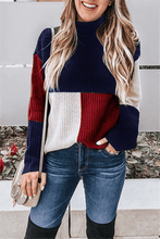 Load image into Gallery viewer, Colorblock Turtleneck Sweater