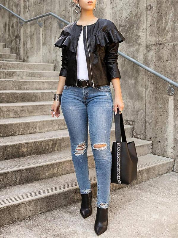 Round Neck Frilled PU Jacket