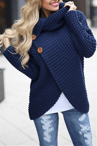 Cowl Neck Button Sweater-Clearance